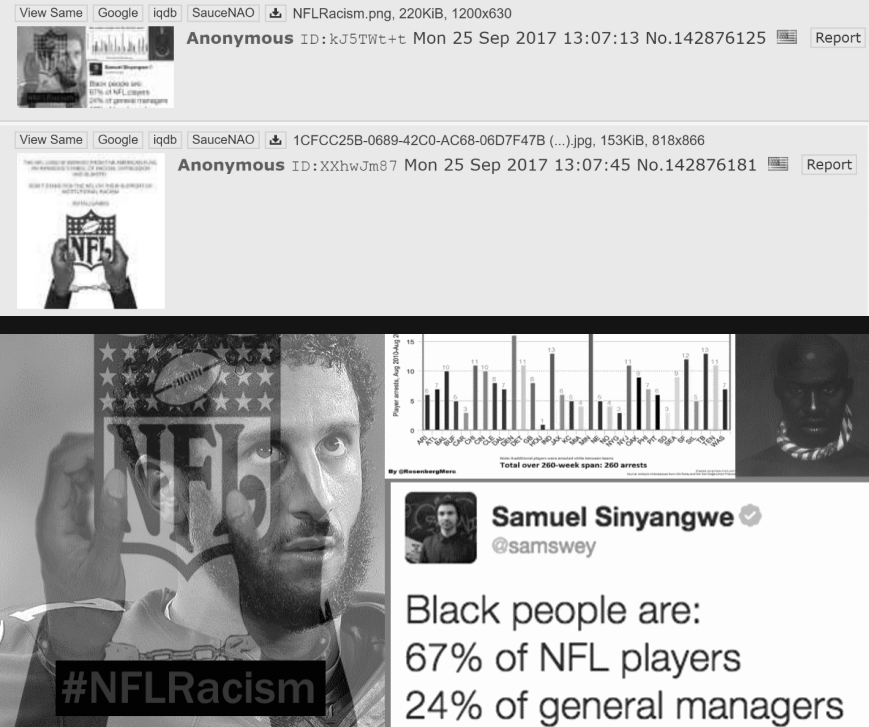 Screenshot of 4chan threads and content designed to spread resentment against nfl among african americans