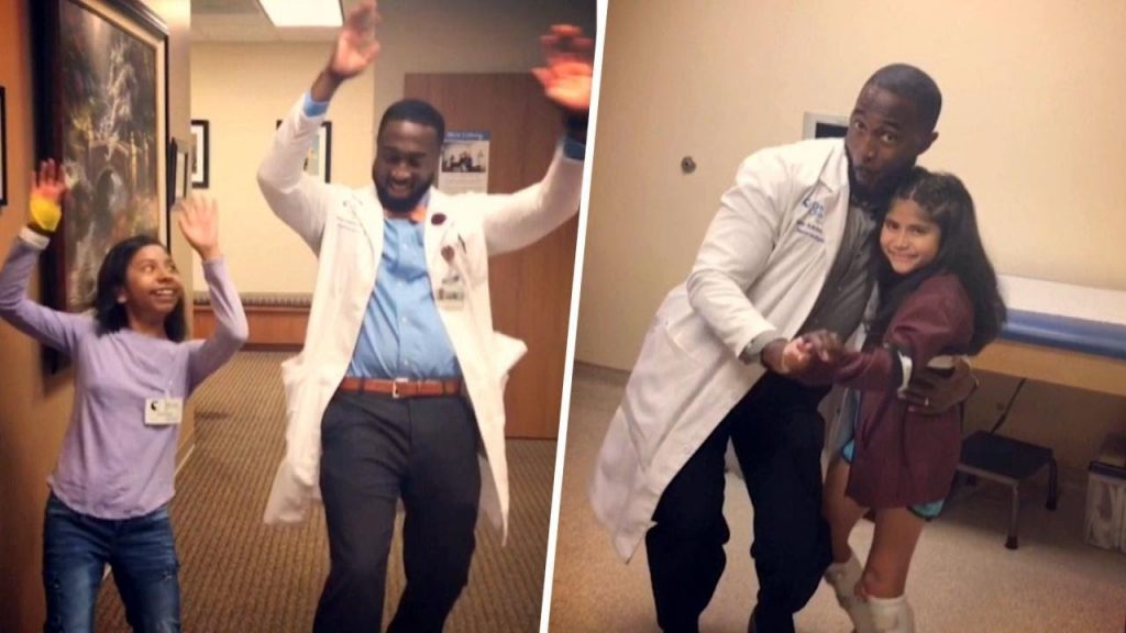 Dancing doctor Tony Adkins in two pictures dances with his young patients