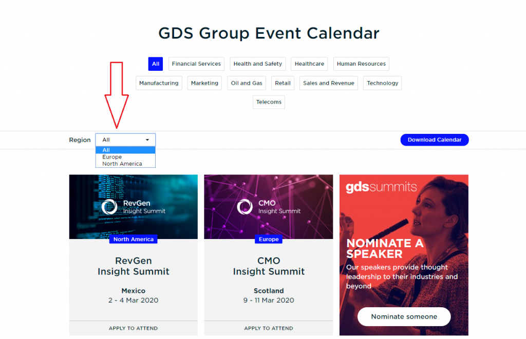 Example of how you can choose a GDS event based on region